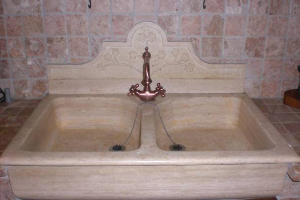 Sink double bowl with carved panel
