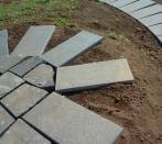 Walkways slabs of basalt flamed