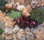 Flowerbed witk rocks in limestone
