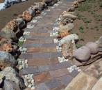 Porphyry tiles and pebbles